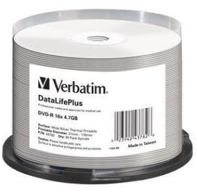DVD-R 50 KPL/TORNI Wide Silver Thermal printable VERBATIM